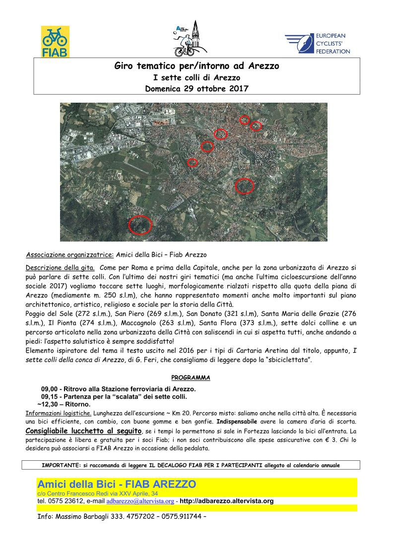 I sette colli di Arezzo in bici - Domenica 29 ottobre 2017 con FIAB Arezzo