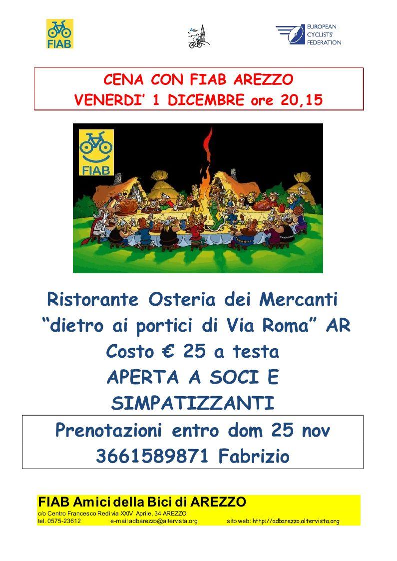 Cena Sociale Amici della Bici FIAB Arezzo Ven 1 Dicembre 2017