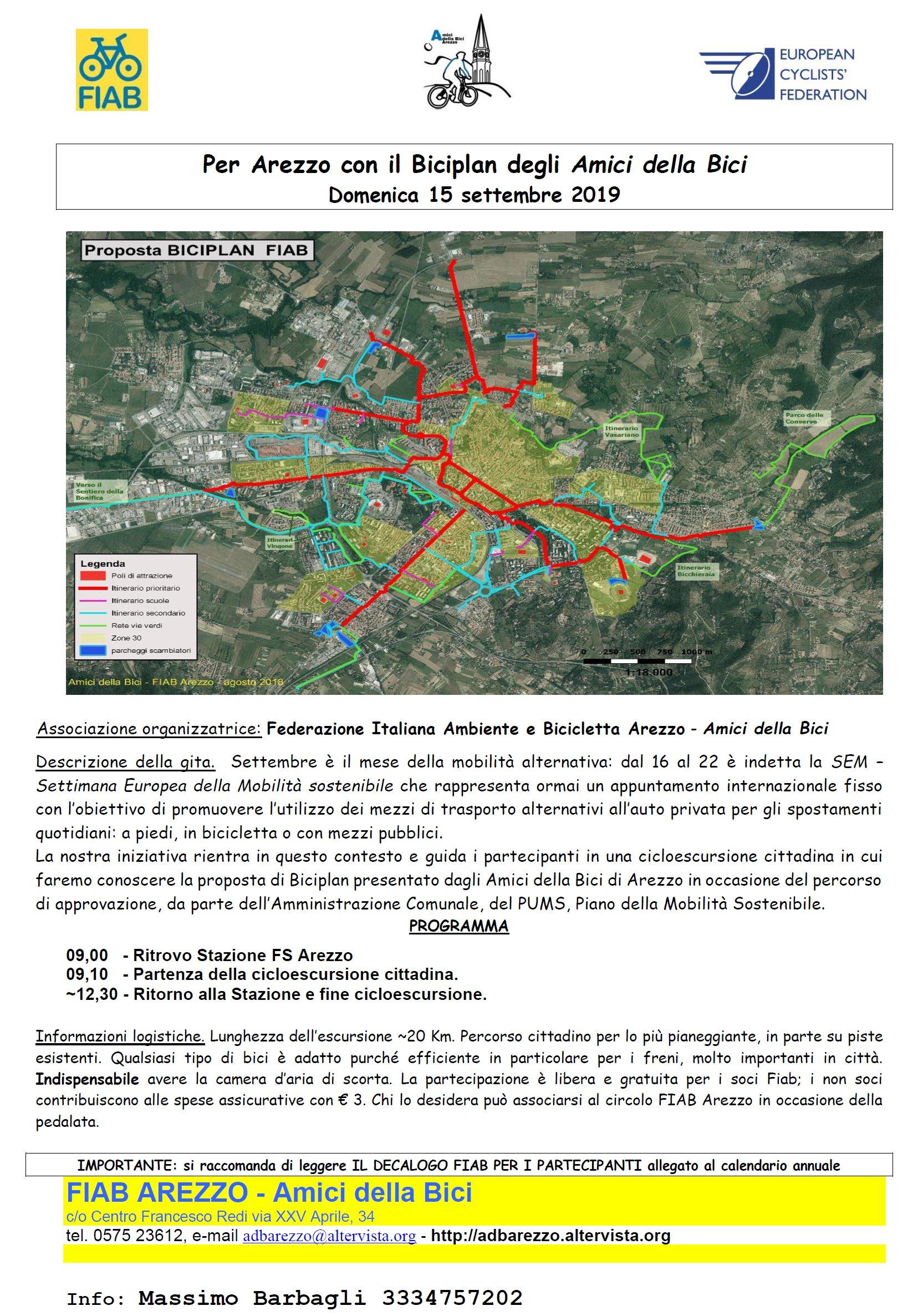 Settimana Europea mobilità sostenibile - in bici ad Arezzo con Fiab