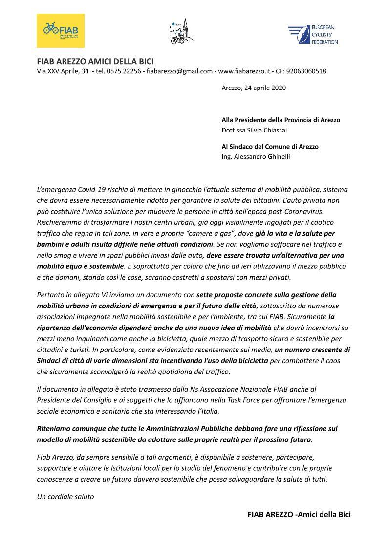 Post CoViD: Una nuova mobilità? FIAB scrive a Comune e Provincia di Arezzo